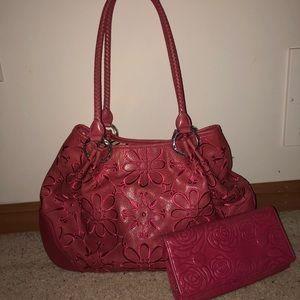Pink Brighton shoulder bag and wallet set